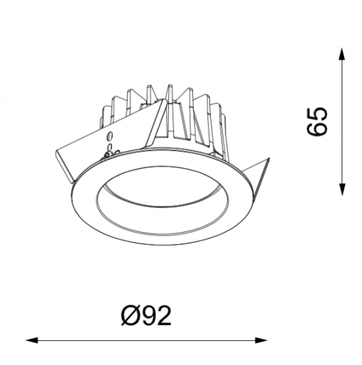 Azir-90 Water Resistant Downlight Dimensions